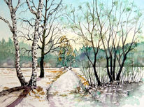Aquarellmalerei, Winter, Winterlandschaft, Weg