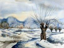 Landschaft, Winterlandschaft, Kopfweide, Aquarellmalerei