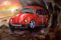 Rot, Kristall, Auto, Wandgestaltung