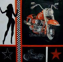 Malerei, Route 66, Biker, Motorradclub