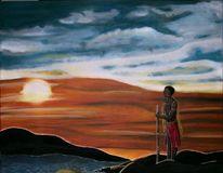 Krieger, Dämmerung, Mann, Afrika