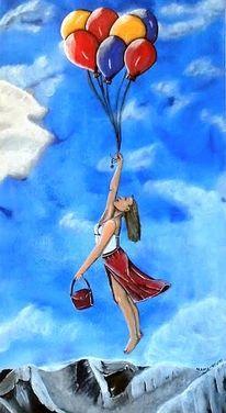 Symbolisch, Wolken, Himmel, Frau