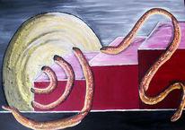 Schlange, Rot, Symbolisch, Ölmalerei