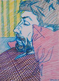 Mann, Schlaf, Zeichnung, Zeichnungen