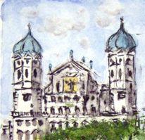 Aquarellmalerei, Rathaus, Augsburg, Aquarell