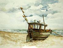 Meer, Boot, Aquarell, Fischerboot