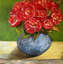 Blüte, Vase, Rosenblätter, Sommer