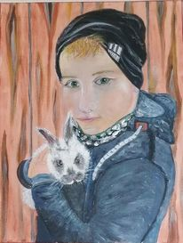 Portrait, Junge, Hase, Malerei
