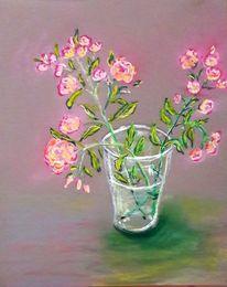 Rose, Glas, Pastellmalerei, Malerei