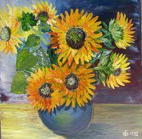 Blumen, Sommer, Blau, Spachteltechnik