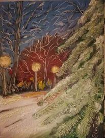 Laterne, Schnee, Baum, Winter