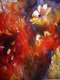 Aquarellmalerei, Blumen, Rot, Abstrakt