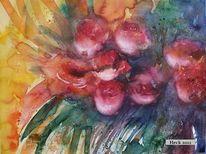 Aquarellmalerei, Bordeaux, Blumen, Stillleben