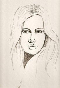 Feder, Tuschmalerei, Frau, Skizzeportrais