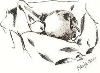 Zeichnung, Bleistiftzeichnung, Tuschmalerei, Apfel