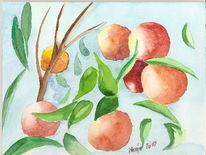 Sommer, Früchte, Aquarellmalerei, Malerei