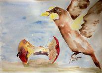 Vogel, Aquarellmalerei, Skizze, Apfel