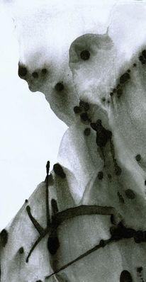 Schwarz weiß, Landschaft, Lavage, Malerei