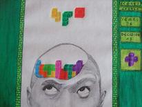Kopf, Tetris, Malerei, Surreal