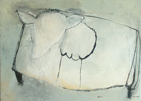 Malerei, Abstrakt, Schaf