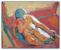 Gemälde, Akt, Aquarellmalerei, Rot