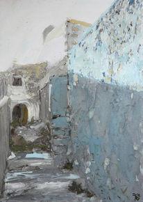 Aquarellmalerei, Unendlichkeit, Mauer, Bestaunen
