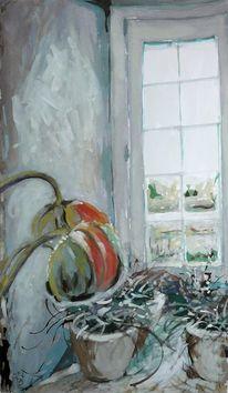 Fenster, Blumen, Aquarellmalerei, Gemälde