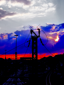 Strommast, Fotografie, Eisenbahn, Grau