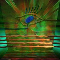 Surreal, Digital, Augen, Grün