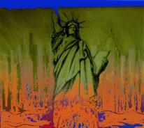Freiheitsstatue, Orange, Digital, Ölmalerei