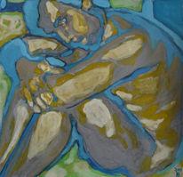 Gemälde, Akt, Mann, Blau