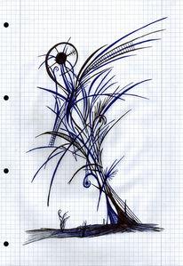Schwarz, Blau, Baum, Zeichnungen