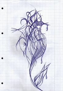 Blau, Blumen, Zeichnungen, Abstrakt