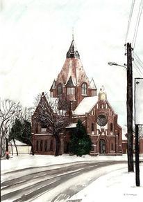 Braun, Gebäude, Rot schwarz, Kirche