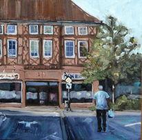 Straße, Ölmalerei, Auto, Landschaft