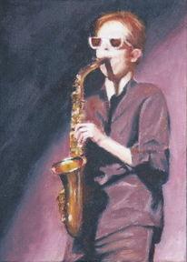 Saxofon, Konzert, Brille, Ölmalerei