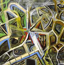 Malerei, Surreal, Mann, Fenster