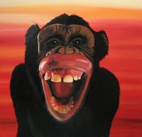 Lachen, Orange, Zunge, Acrylmalerei