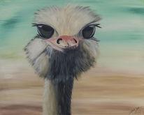 Türkis, Strauß, Emu, Acrylmalerei