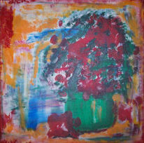 Malerei, Abstrakt, Blumen, Topf