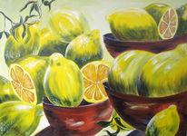 Gelb, Stillleben, Zitrone, Acrylmalerei