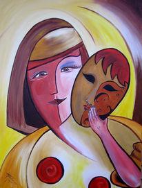 Maske, Venedig, Acrylmalerei, Malerei