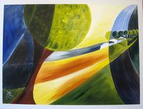 Weizenfelder, Acrylmalerei, Rottal, Landschaft