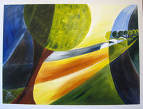 Acrylmalerei, Rottal, Landschaft, Gelb