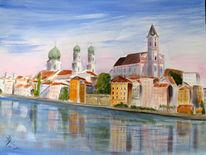 Spiegelung, Donau, Blau, Stadtansicht