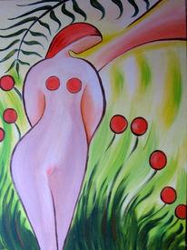 Akt, Blumen, Acrylmalerei, Frau