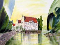 Schloss, Grün, Neuhaus, Inn