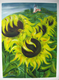 Sonnenblumen, Kirche, Landschaft, Gelb