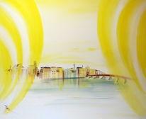 Wasserburg, Sonnenuntergang, Expressionismus, Holzbrücke