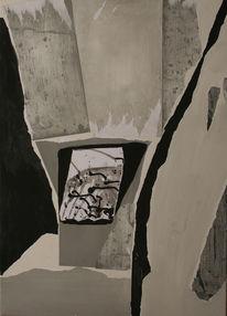 Schwarz weiß, Collage, Malerei, Abstrakt
